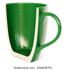 A Half Green Cup isolated on white background. 3d rendering.