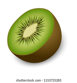 Half of kiwi mockup. Realistic illustration of half of kiwi mockup for web design isolated on white background