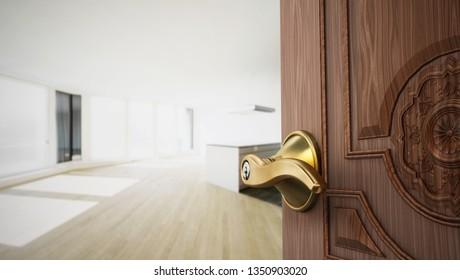 Half open apartment door opening to empty room. 3D illustration.