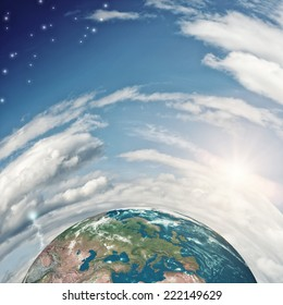 Half of our Earth planet. Elements of this image are furnished by NASA