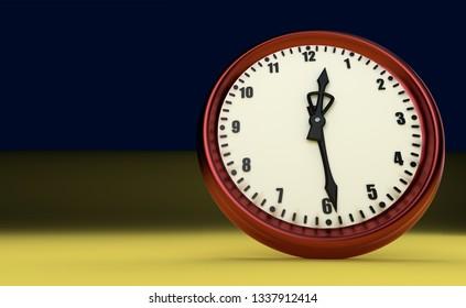 half past midday midnight big clock rush watch 3D illustration