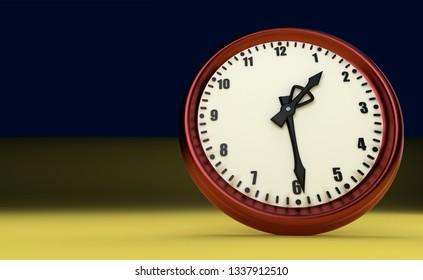 half past one o'clock big clock rush watch 3D illustration