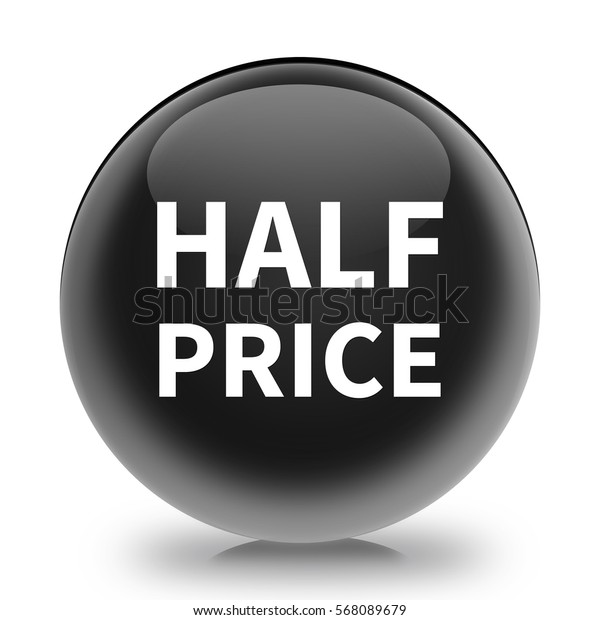 half price button isolated. 3D illustration