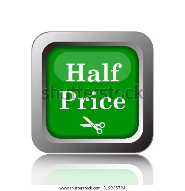 Half price icon. Internet button on white background.