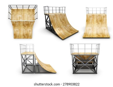 Half of the ramp view from different angles isolated on white background. 3d illustration.