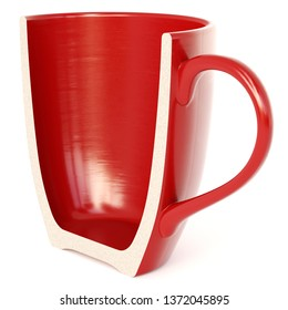A Half Red Cup isolated on white background. 3d rendering.