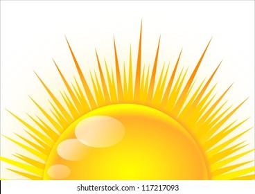 Half of the sun at sunrise
