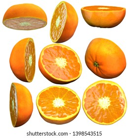 Half tangerine fruit white background multiple angles 3d render