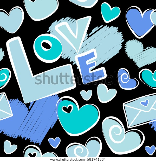 Half tone blending mini hearts in blue colors on a black background. Repeating seamless pattern for valentines day.