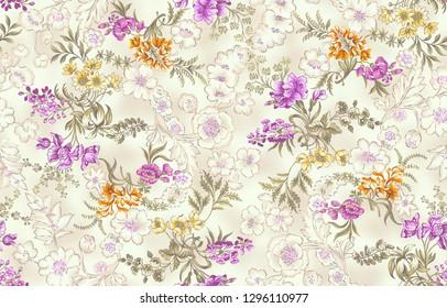 half tone small flowers textile and digital print design