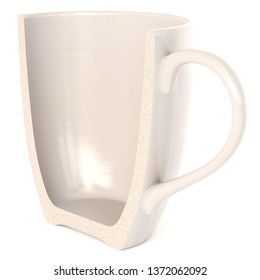 A Half white Cup isolated on white background. 3d rendering.