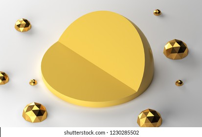 Half yellow sphere in section on white background. 3d model of geometric figure. Multifaceted pulosari around incision hemisphere. 3D rendering