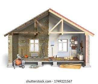 Half-done house renovation works in process, 3d illustration