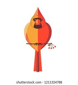 Half-male half-female northern red cardinal icon. Unique unusual creature, bizarre split plumage. Split-sex gynandromorphy animal symmetry. Uncommon wild bird of woodland, garden flat cartoon