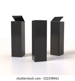 half-open and closed black box products. 3D rendering