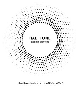 Halftone circle frame with black abstract random dots, logo emblem design element for technology, medical, treatment, cosmetic. Round border Icon using halftone circle dots raster texture.