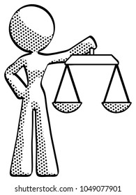 Halftone Design Mascot Woman holding scales of justice