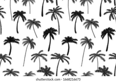 halftone effect palm trees seamless pattern monochrome on white background