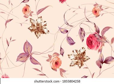 Halftone Flowers Bouquet, Floral illustration, Botanical composition for greeting card, textile and digital print - Illustration