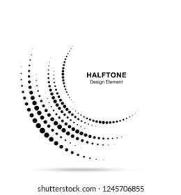 Halftone incomplete circle frame dots logo isolated on white background. Circular part design element for treatment, technology. Half round border Icon using halftone circle dots texture.