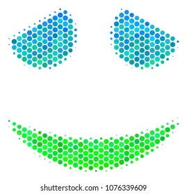 Halftone round spot Embarassed Smile icon. Icon in green and blue shades on a white background. Raster collage of embarassed smile icon designed of circle spots.