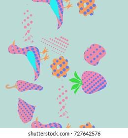 Halftone  seamless  floral pattern. Hand drawn.