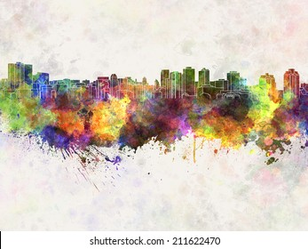Halifax skyline in watercolor background