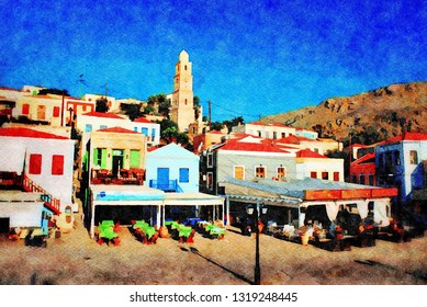 HALKI, GREECE - JUNE 17, 2015: Illustration of seafront tavernas at Emborio on the Greek island of Halki. Digital image with watercolour effect.
