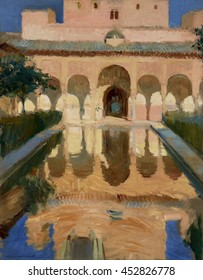 Hall of the Ambassadors, Alhambra, Granada, by Joaquin Sorolla y Bastida, 1910, Spanish painting, oil on canvas. Sorolla painted the patterns created by the architecture, water, light and shadows. Th
