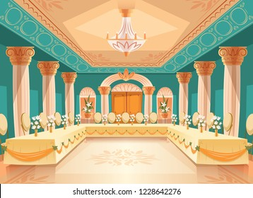 hall for banquet, wedding. Interior of ballroom with tables, chairs for feast, celebration or royal reception. Big room with chandelier, columns, pillars in luxury medieval palace