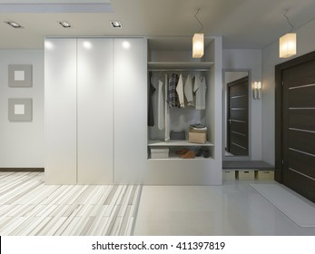 Hall with a corridor in Contemporary style with a wardrobe and a sliding. 3D render.