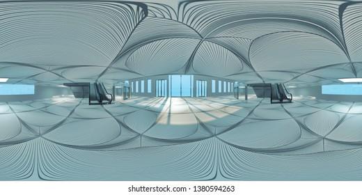 hall with escalators, hdri map. 3d illustration