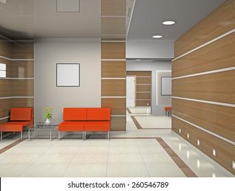 Hall a modern office 3D rendering