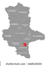 Halle an der Saale red highlighted in map of Saxony Anhalt Germany DE