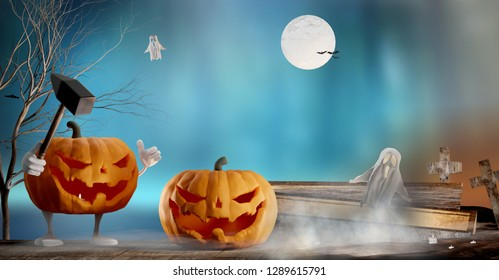 Halloween background funny and evil slain with the hammer. evil intentions Halloween pumpkin 3d-illustration