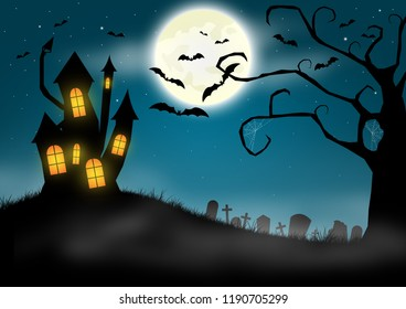 Halloween background with haunted castle and graveyard