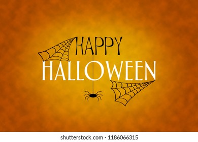 Halloween background. The inscription is Haloween, spider webs and spiders on an orange background. Festive background