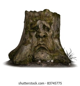 Halloween Background with old tree stump