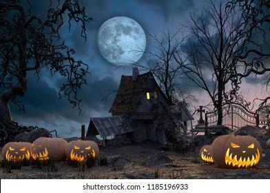 Halloween background with pumpkin graveyard and gloomy autumn trees