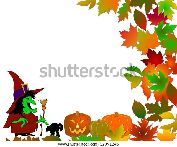 halloween background with pumpkins and witch