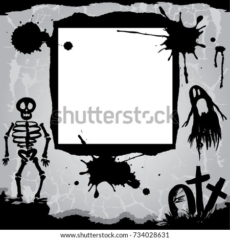 Halloween Background Scary Skeleton Ghost Tree Stock Illustration ...