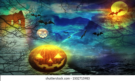 Halloween background. Spooky forest with pumpkins, flying bats and castle in the night. 3 D render