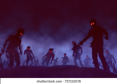 Halloween background.zombie crowd walking at night,for Halloween concept,illustration painting And design.