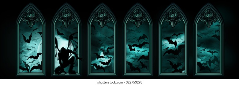 Halloween banner with bats and a fallen angel. Illustration halloween banner with gothic windows, a fallen angel or a vampire, night sky with the moon and flying bats hordes on the background