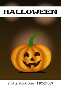 Halloween Banner and Jack-o-Lantern Pumpkins In Front Of A Dark Shadow Background.