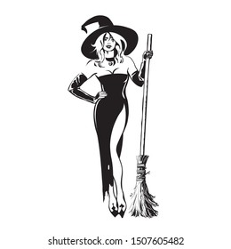Halloween beautiful sexy witch holding broomstick in sketch style. Pretty young woman in witches hat and black dress with magic broom. Hand drawn illustration on white background.
