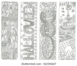 Halloween book marks coloring page