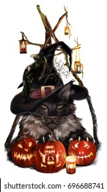 Halloween, the cat-demon watercolor painting