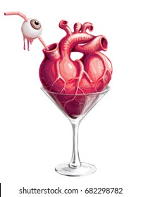 Halloween cocktail. Martini glass with a heart and a straw which impaled the eyeball. Hand drawn raster illustration