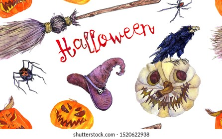 Halloween colorfull pattern design, pumpkin, broom, witch hat, spiders, crow, broom, Hand painted watercolor on white background